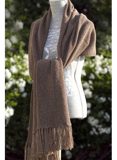SCARF COFFEE BROWN 100% BABY ALPACA