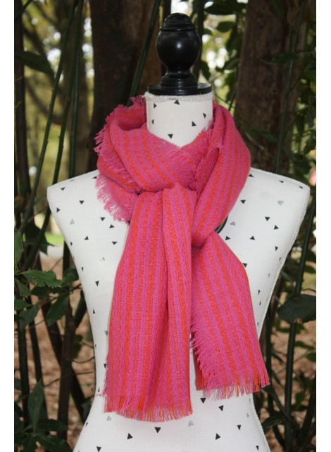 TWO-TONE PINK AND RED PASHMINA 100% BABY ALPACA