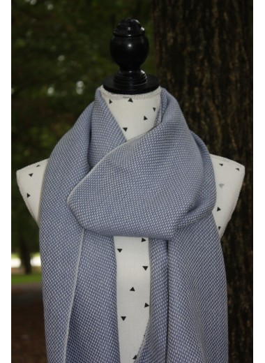 Blue and White Stone Pashmina