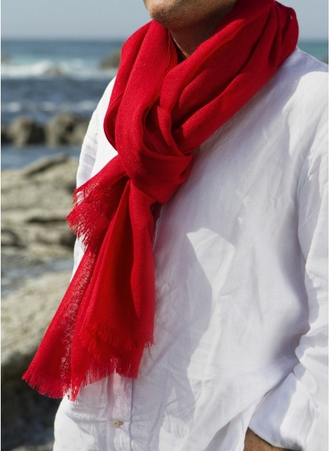 SOLID RED PASHMINA 100% BABY ALPACA